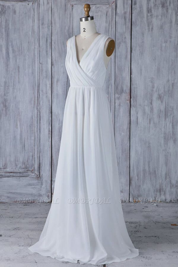 BMbridal Elegant A-Line Chiffon Wedding Dress Appliques Ruffles Draped Back Bridal Gowns Online