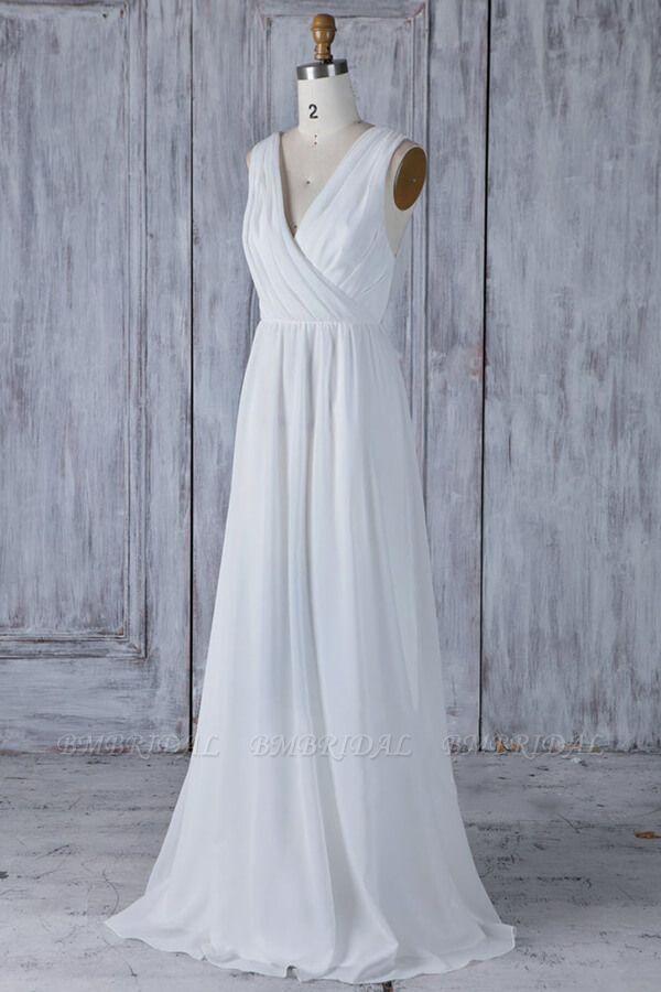 Elegant A-Line Chiffon Wedding Dress Appliques Ruffles Draped Back Bridal Gowns Online