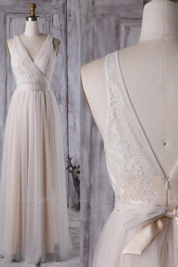 BMbridal Chic Tulle Lace Wedding Dress Ruffle V-neck Sleeveless Bridal Gowns On Sale