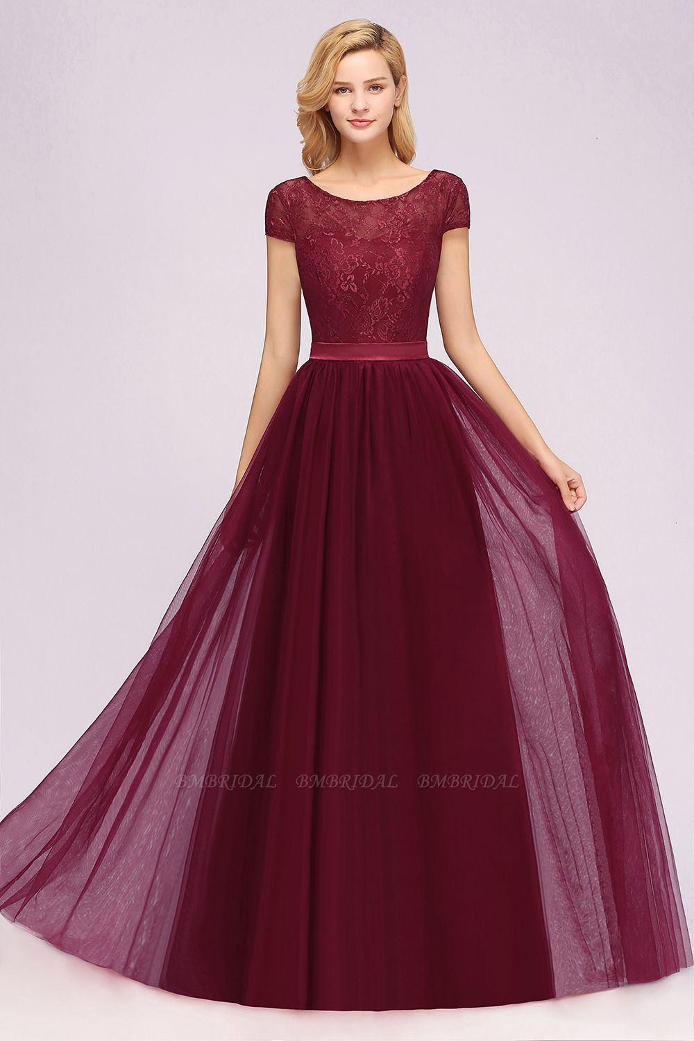 Elegant Lace Cap Sleeves Burgundy Bridesmaid Dresses Affordable
