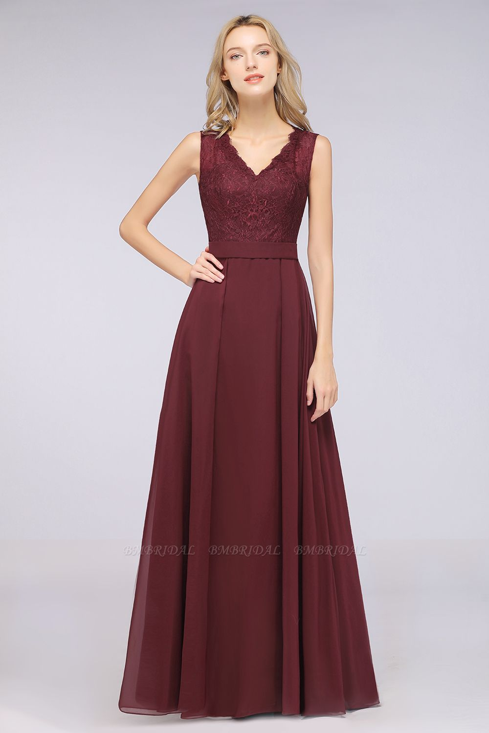 BMbridal Modest Chiffon V-Neck Burgundy Lace Bridesmaid Dresses Online