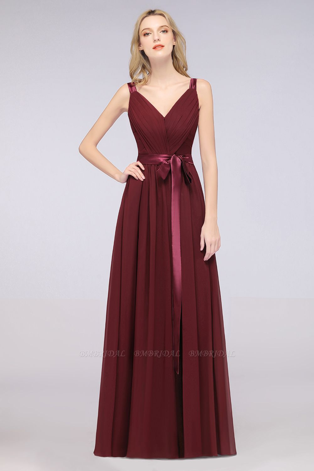 BMbridal Chic V-Neck Straps Ruffle Burgundy Bridesmaid Dresses with Bow Sash