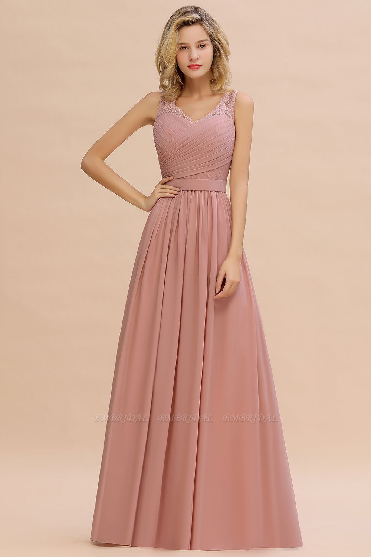 BMbridal Elegant V-Neck Ruffle Dusty Rose Chiffon Lace Bridesmaid Dresses Online