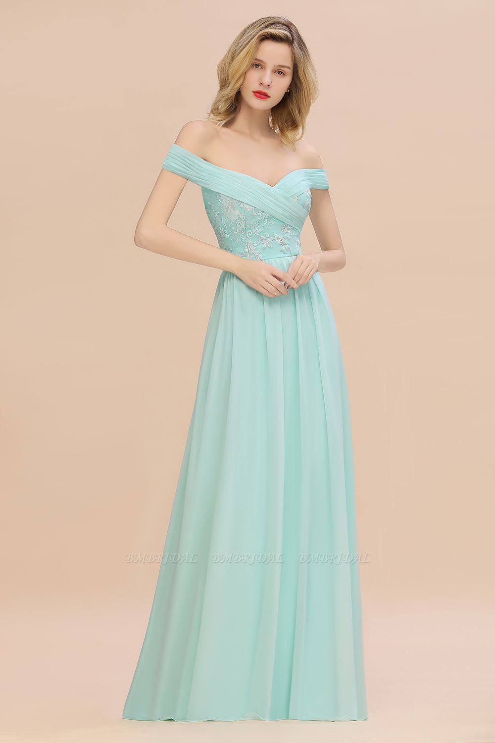 Simple Off-the-shoulder Long Affordable Bridesmaid Dress With Appliques