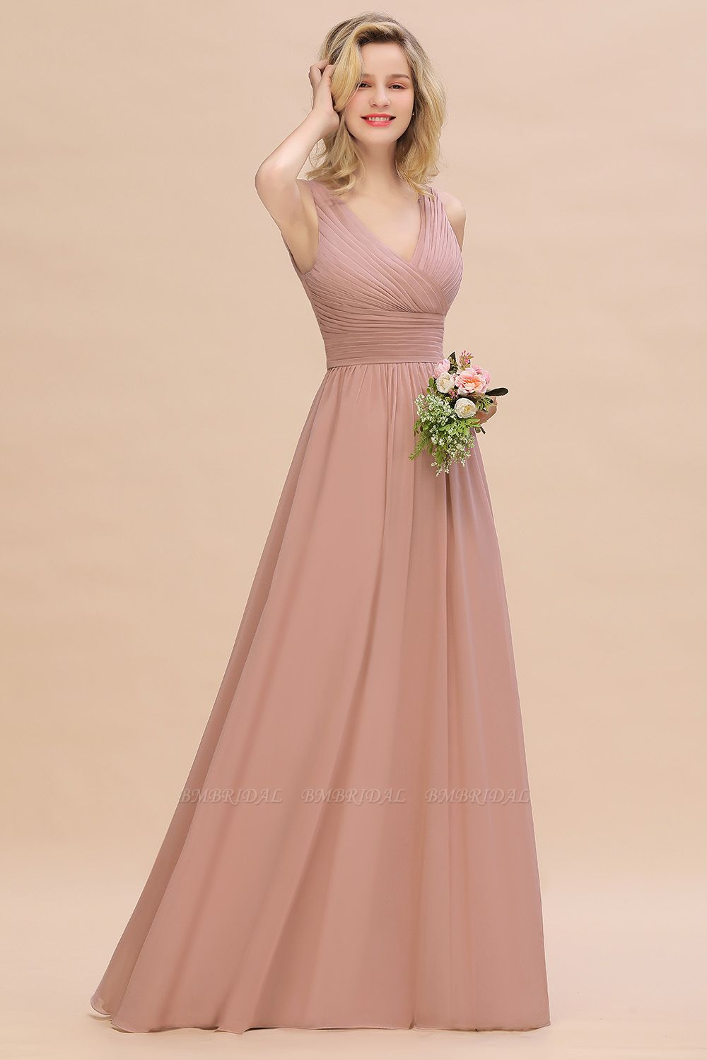 Elegant V-Neck Dusty Rose Chiffon Bridesmaid Dress with Ruffle
