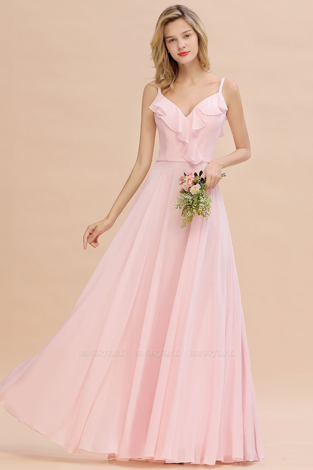 Stylish Draped V-Neck Pink Chiffon Bridesmaid Dress with Spaghetti Straps