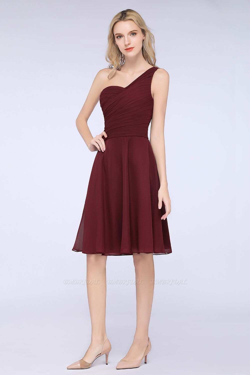 Chic One-Shoulder Short Burgundy Affordable Bridesmaid Dress with Ruffle