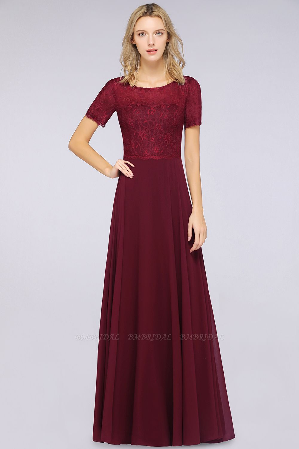 Chic Lace Long Burgundy Backless Bridesmaid Dress With Short-Sleeves