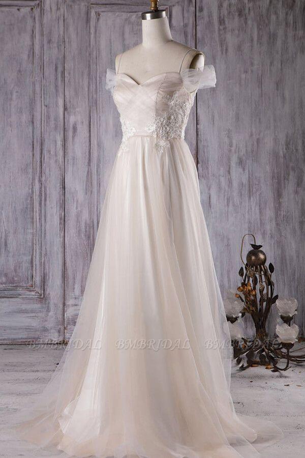 BMbridal Elegant Cold-shoulder Wedding Dress Sweetheart Appliques Ruffles Bridal Gowns Online