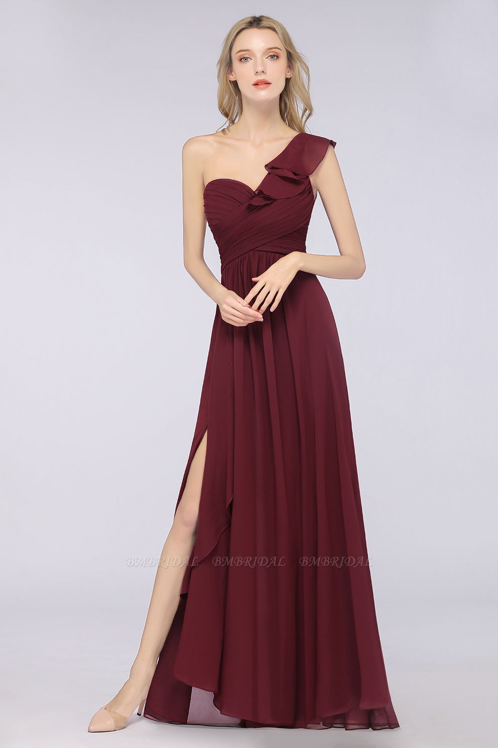 BMbridal Gorgeous Sweetheart Ruffle Burgundy Chiffon Bridesmaid Dress With One-shoulder