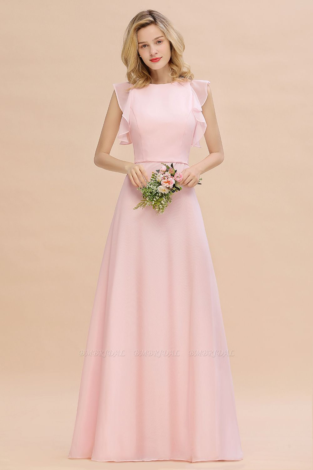 BMbridal Simple Jewel Draped Sleeves Blushing Pink Bridesmaid Dress Online