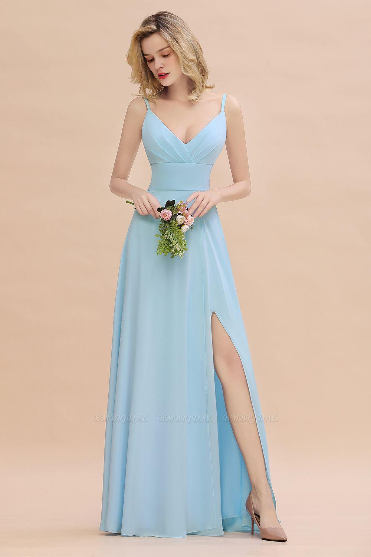 Affordable Spaghetti-Straps Slit Long Chiffon Bridesmaid Dress with Ruffle