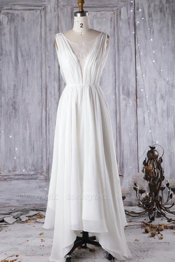 Affordable Asymmetric Chiffon Wedding Dress Lace Appliques Ruffles Bridal Gowns On Sale