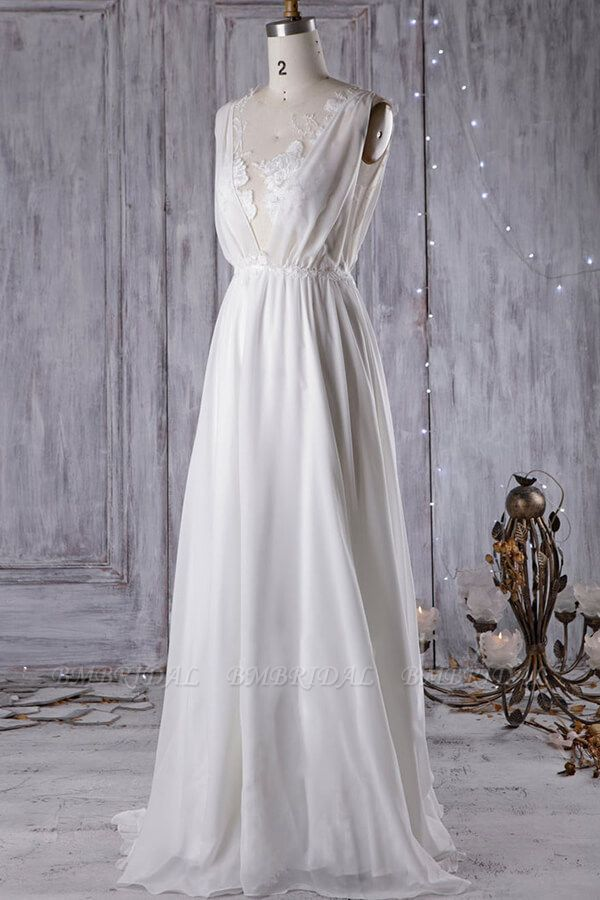 BMbridal Sexy A-line V-Neck Chiffon Wedding Dress Sleeveless Lace Appliques Bridal Gowns On Sale