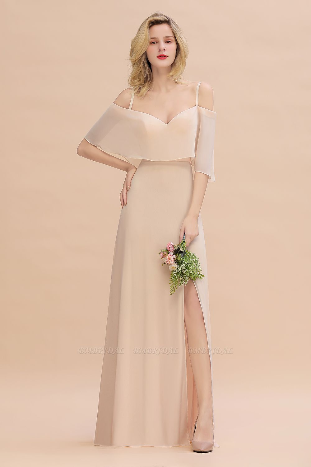 Gorgeous Spaghetti Straps Flounced Crinkle Cheap Bridesmaid Dresses with Slit