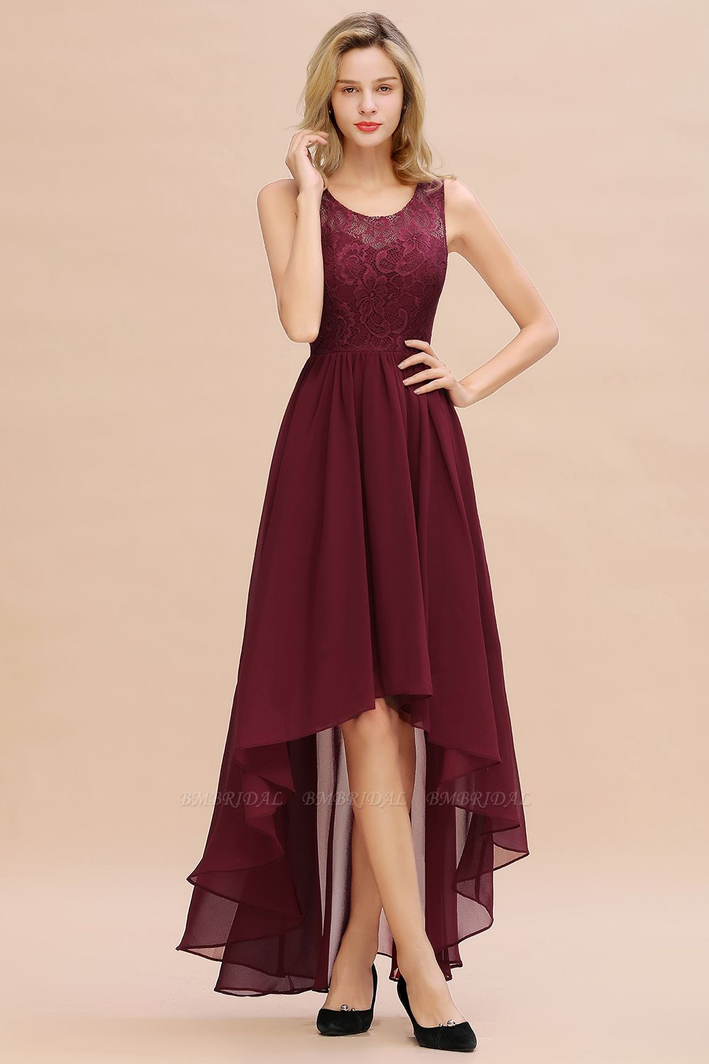 Affordable Hi-Lo Lace Sleeveless Burgundy Chiffon Bridesmaid Dress Online