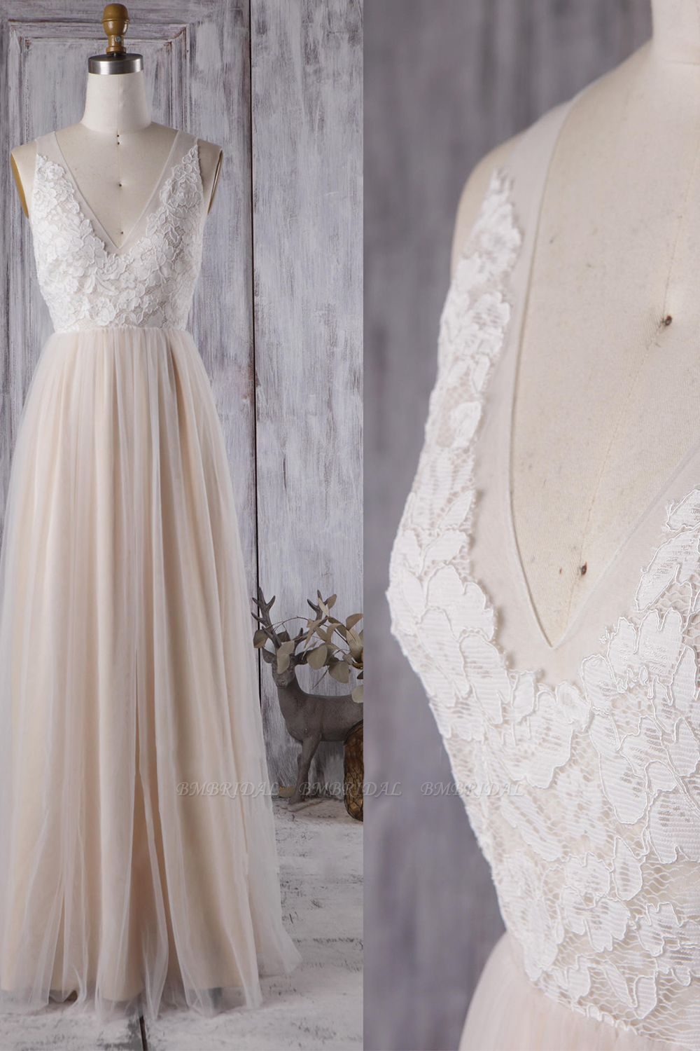 BMbridal Elegant A-line Tulle Lace Wedding Dress V-neck Appliques Ruffles Bridal Gowns On Sale