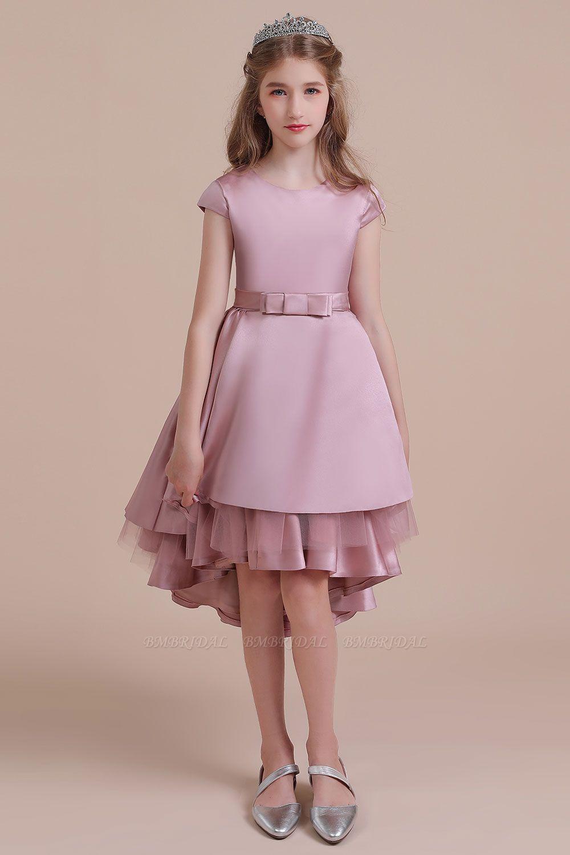 BMbridal A-Line Cap Sleeve Satin High-low Flower Girl Dress Online