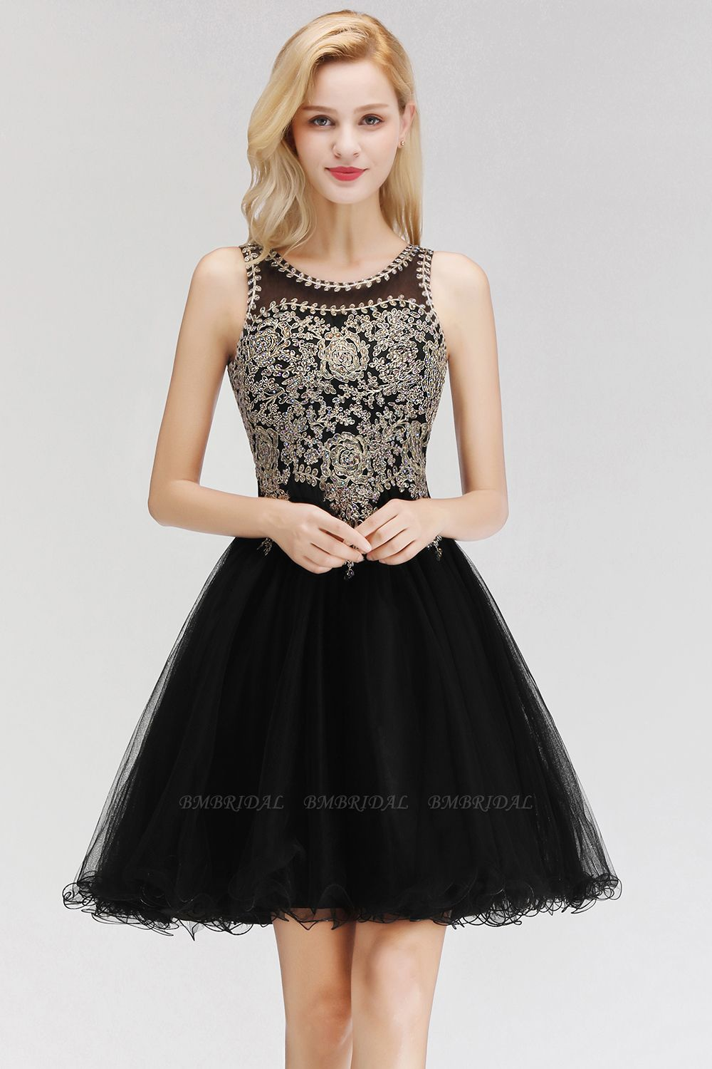 BMbridal A-line Tulle Lace Homecoming Dress with Beadings