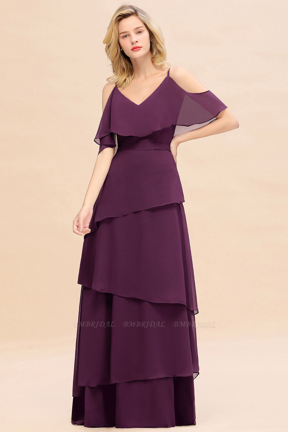 BMbridal Chic Cold-Shoulder Layers Grape Chiffon Bridesmaid Dress Affordable