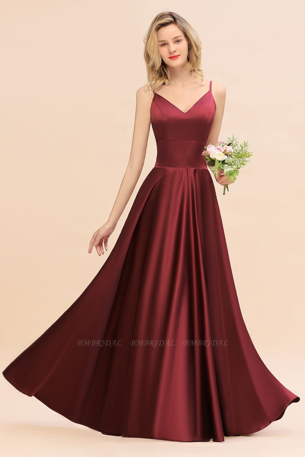 Chic Spaghetti-Straps Burgundy Satin Long Bridesmaid Dress Online