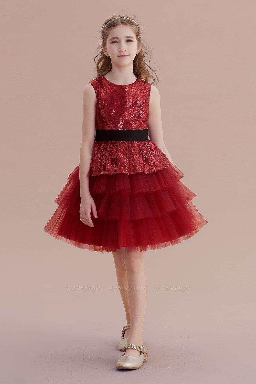 BMbridal A-Line Tulle Sequins Knee Length Flower Girl Dress Online