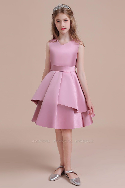 BMbridal A-Line Best Satin Knee Length Flower Girl Dress Online