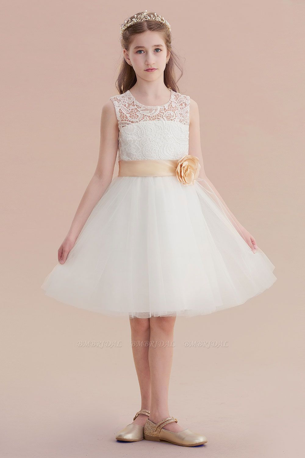 BMbridal A-Line Lace Tulle Knee Length Dress Flower Girl Dress Online