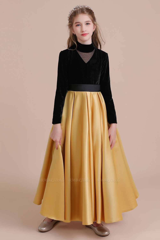 BMbridal A-Line High-neck Velvet Satin Flower Girl Dress Online
