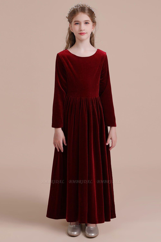 BMbridal A-Line Long Sleeve Velvet Flower Girl Dress On Sale