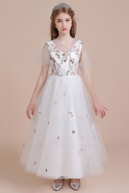 BMbridal A-Line Short Sleeve Embroidered Tulle Flower Girl Dress On Sale