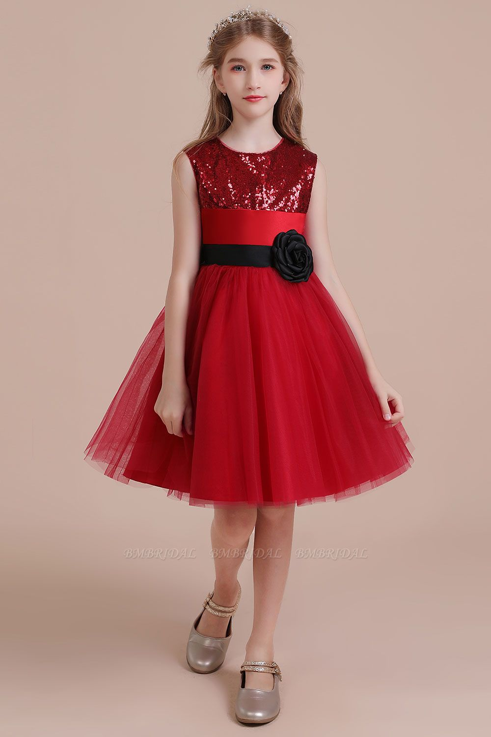 BMbridal A-Line Graceful Sequins Tulle Flower Girl Dress Online