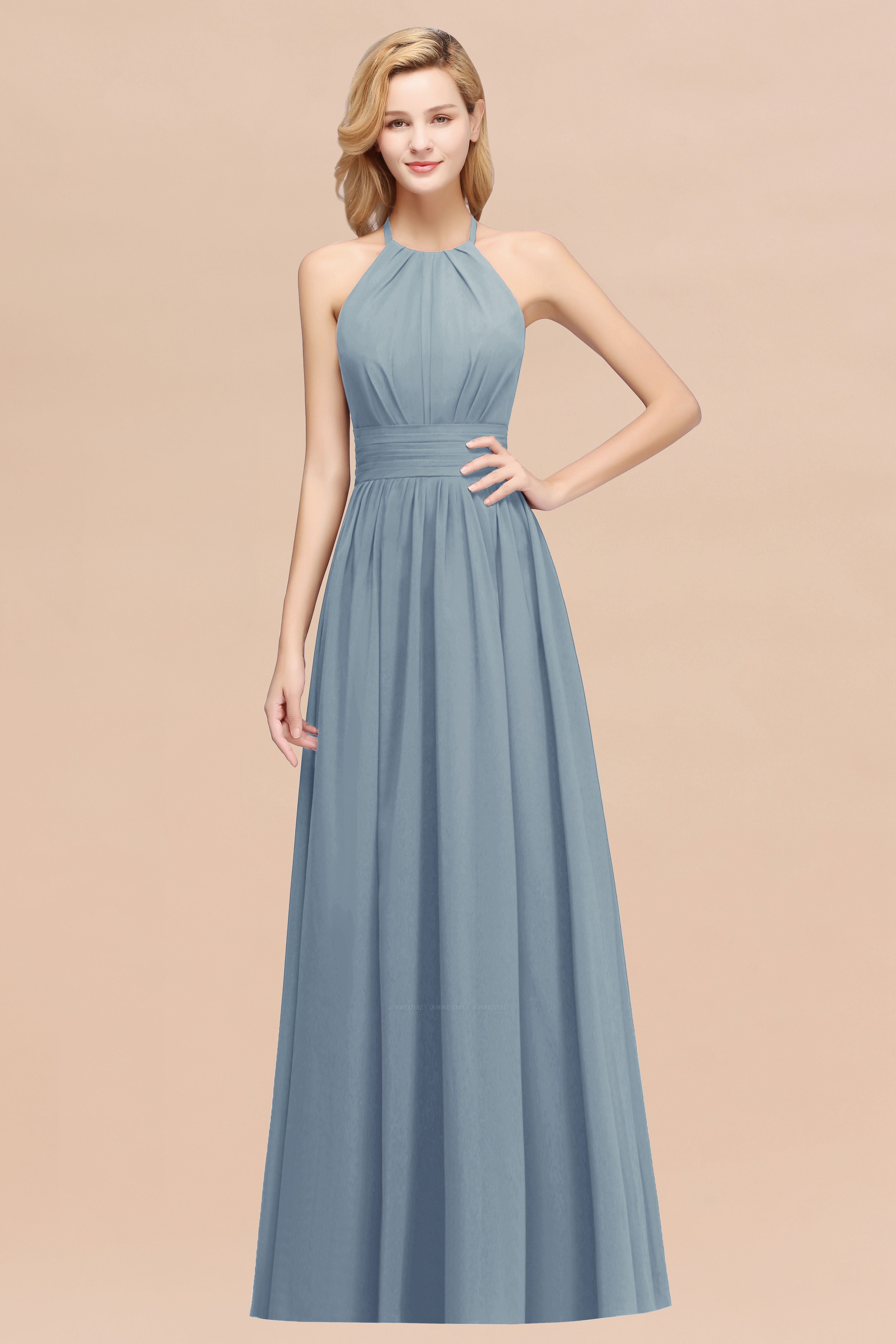 Elegant High-Neck Halter Long Affordable Bridesmaid Dresses with Ruffles
