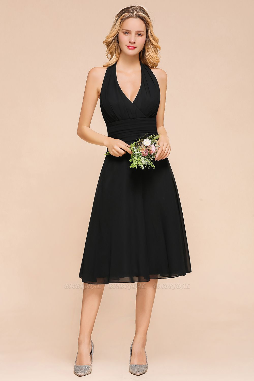BMbridal Affordable Halter V-Neck Black Short Bridesmaid Dresses Online