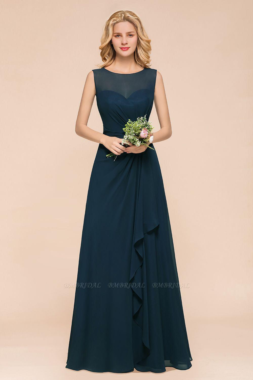 BMbridal Beautiful Chiffon Jewel Ruffle Navy Affordable Bridesmaid Dresses Online