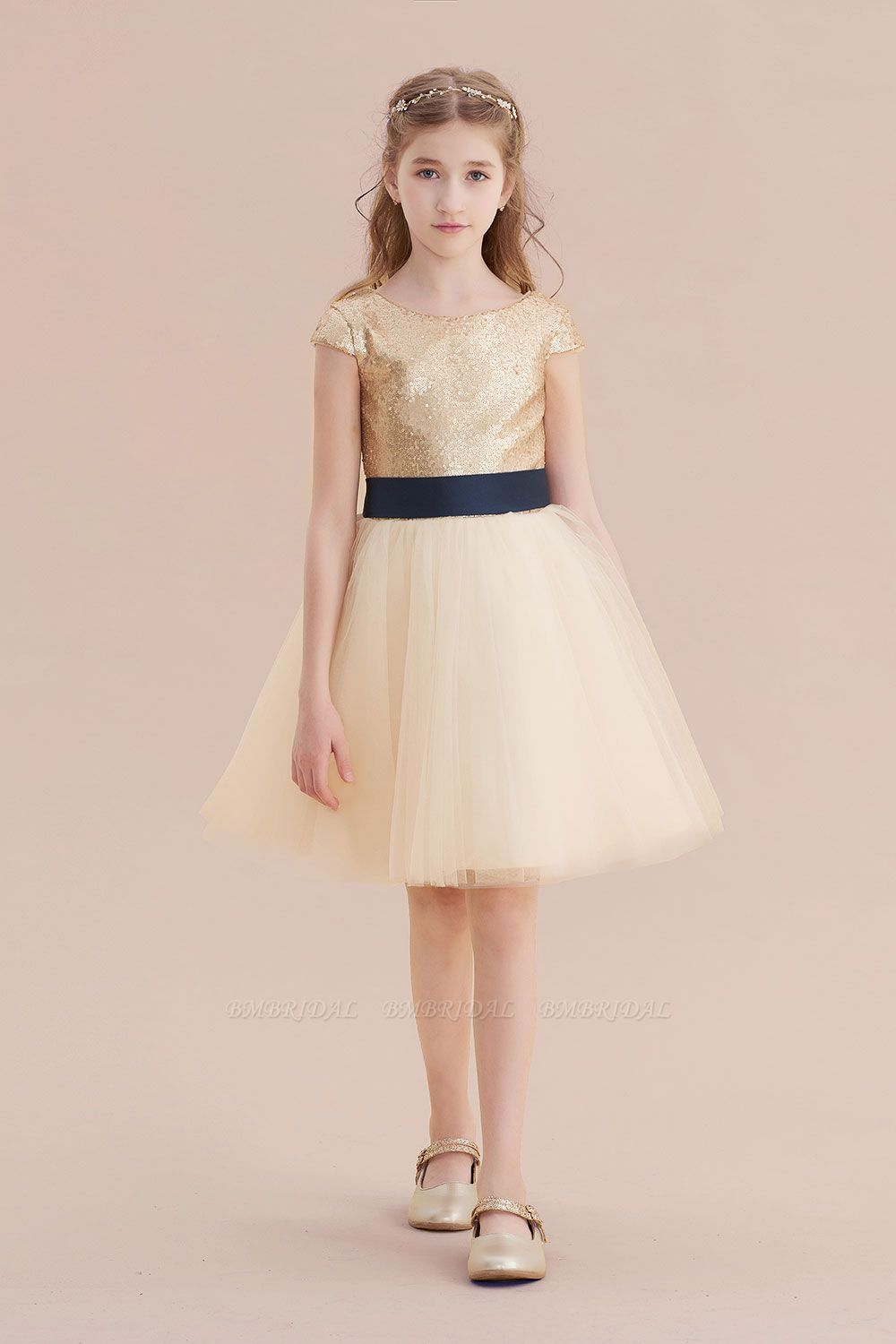 BMbridal A-Line Sequins Tulle Cap Sleeve Flower Girl Dress Online