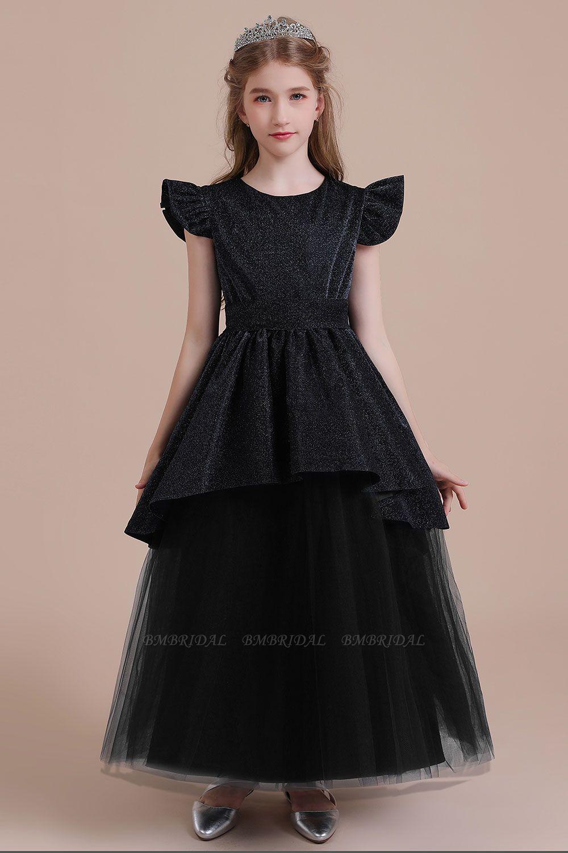 BMbridal A-Line Glitter Cap Sleeve Tulle Flower Girl Dress On Sale