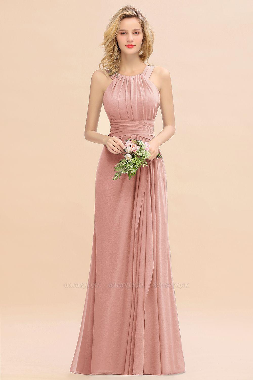 Elegant Round Neck Sleeveless Stormy Bridesmaid Dress with Ruffles
