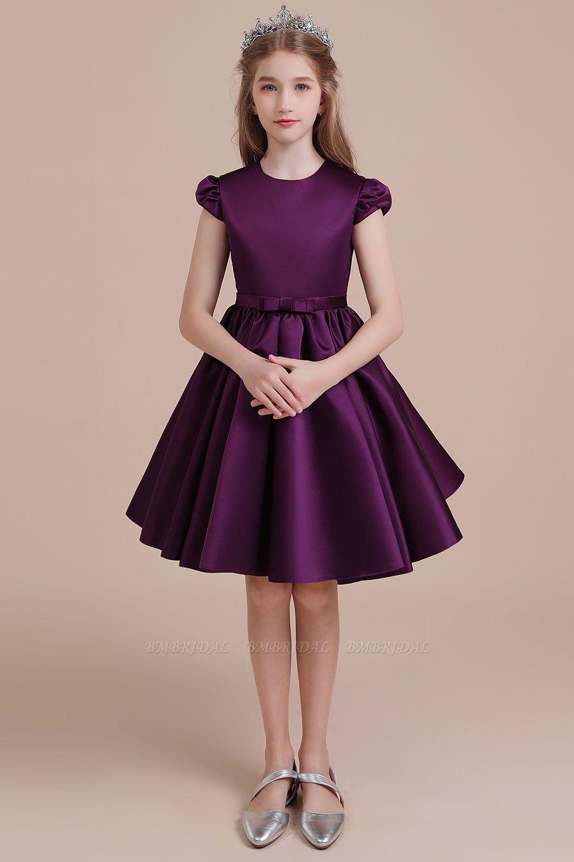 BMbridal A-Line Graceful Cap Sleeve Satin Flower Girl Dress Online