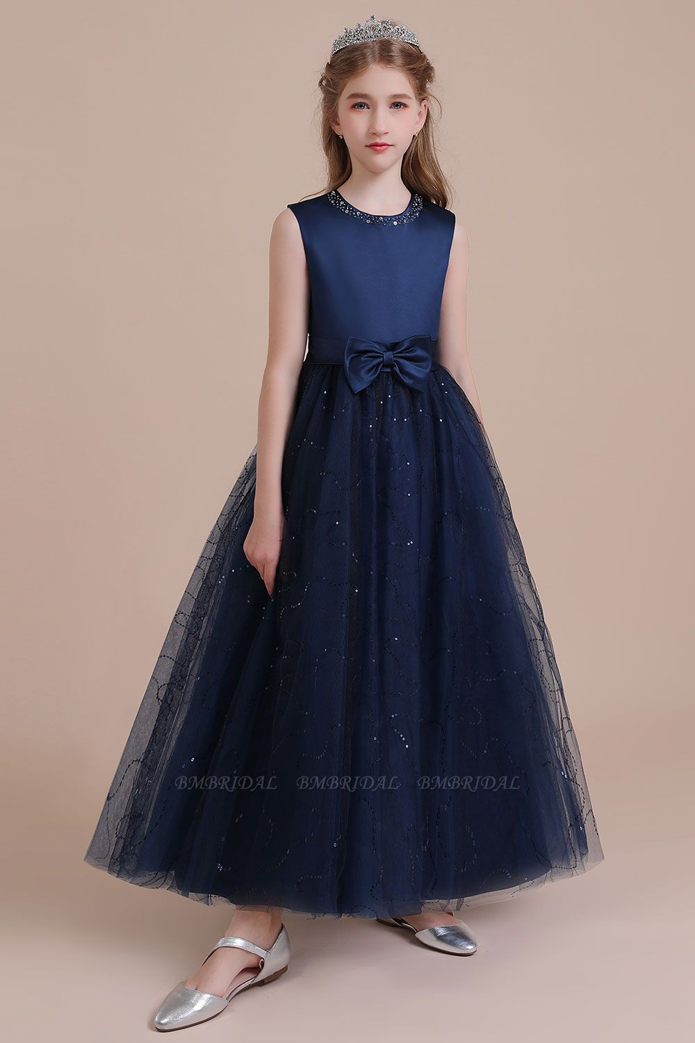 BMbridal A-Line Chic Bow Tulle Flower Girl Dress Online