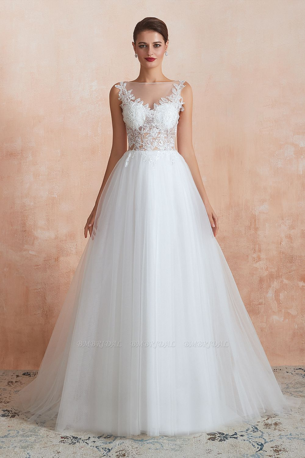 Exquisite Sequins White Tulle Cheap Wedding Dresses with Appliques