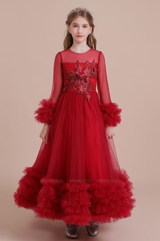 BMbridal A-Line Long Sleeve Applique Tulle Flower Girl Dress On Sale