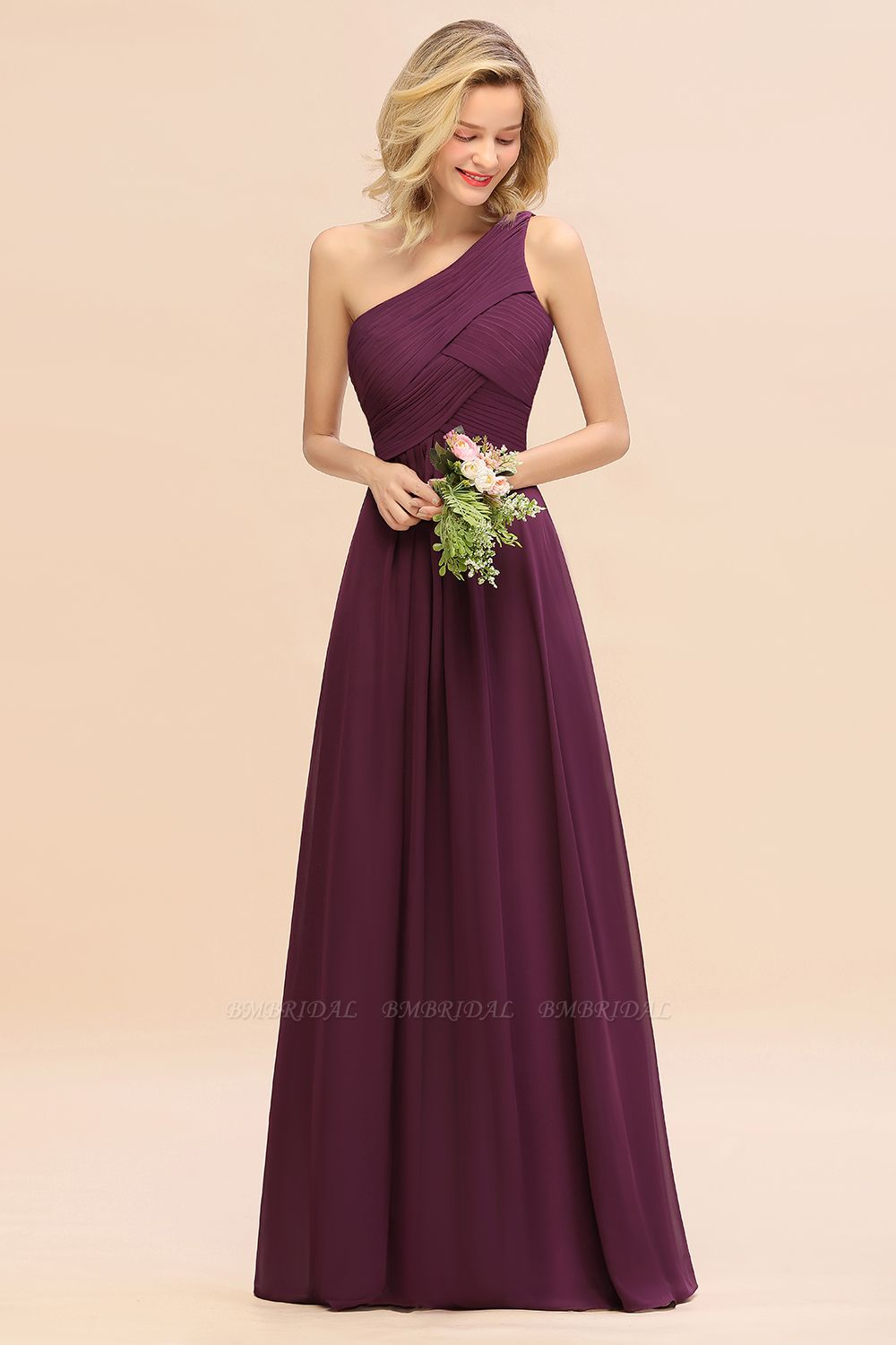 Chic One Shoulder Ruffle Grape Chiffon Bridesmaid Dresses Online