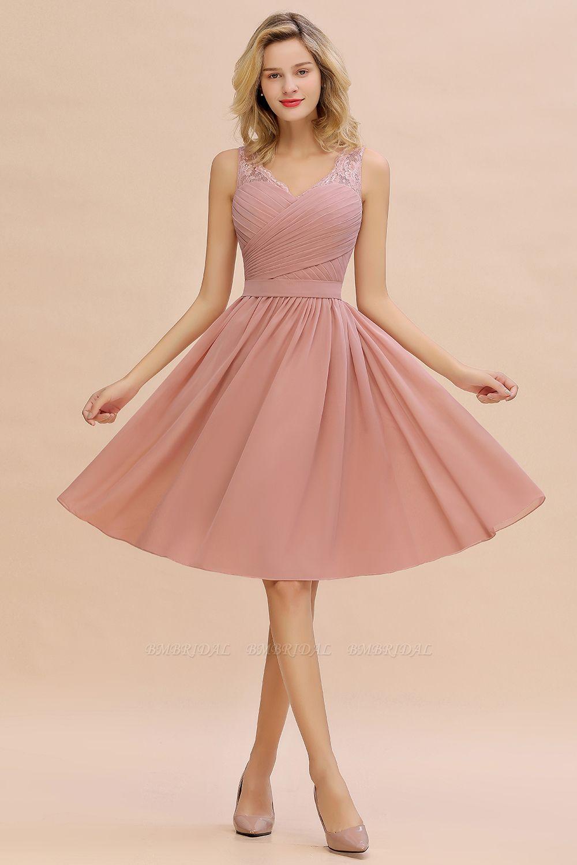 BMbridal A-line Chiffon Ruffle Bridesmaid Dress Sleeveless Lace Homecoming Dress