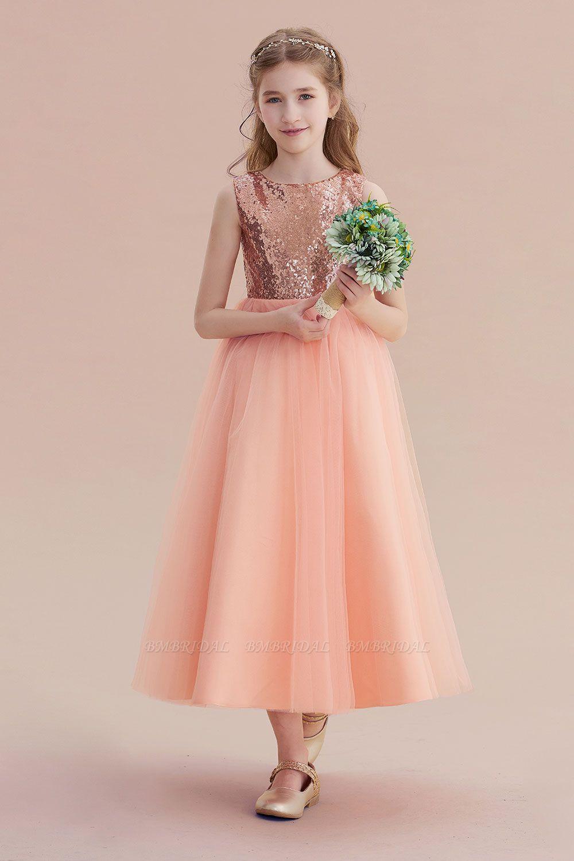 BMbridal A-Line Graceful Sequins Tulle Flower Girl Dress On Sale