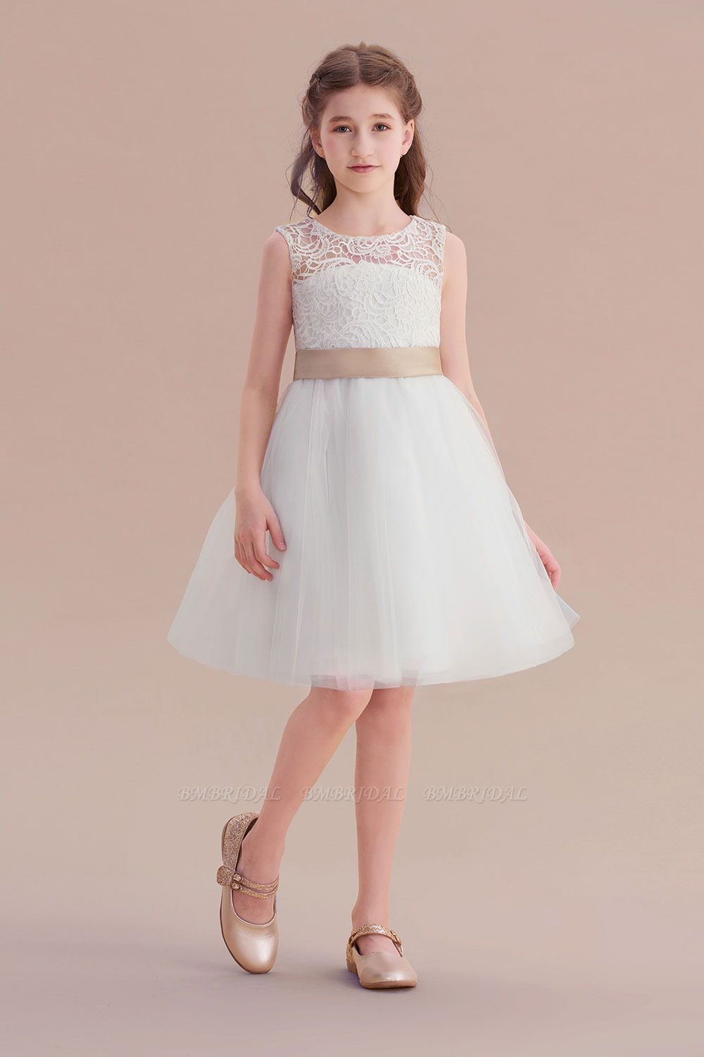 BMbridal A-Line Bow Tulle Lace Knee Length Flower Girl Dress Online