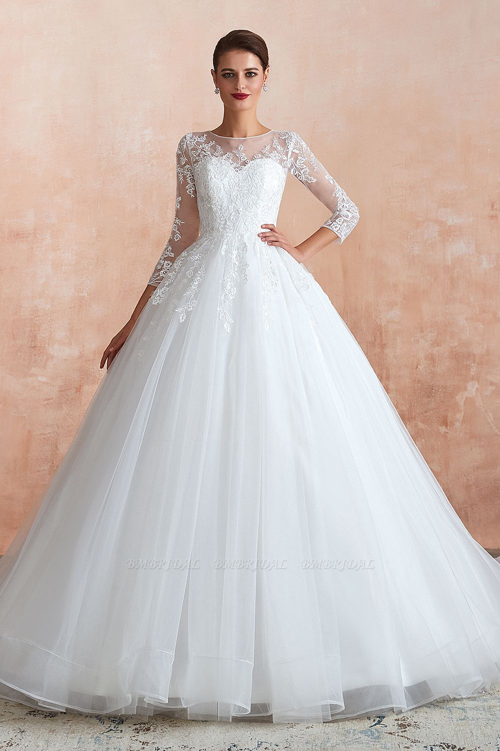 BMbridal Affordable Lace Jewel White Tulle Wedding Dresses with 3/4 Sleeves