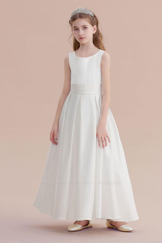 BMbridal A-Line Simple Satin Flower Girl Dress On Sale