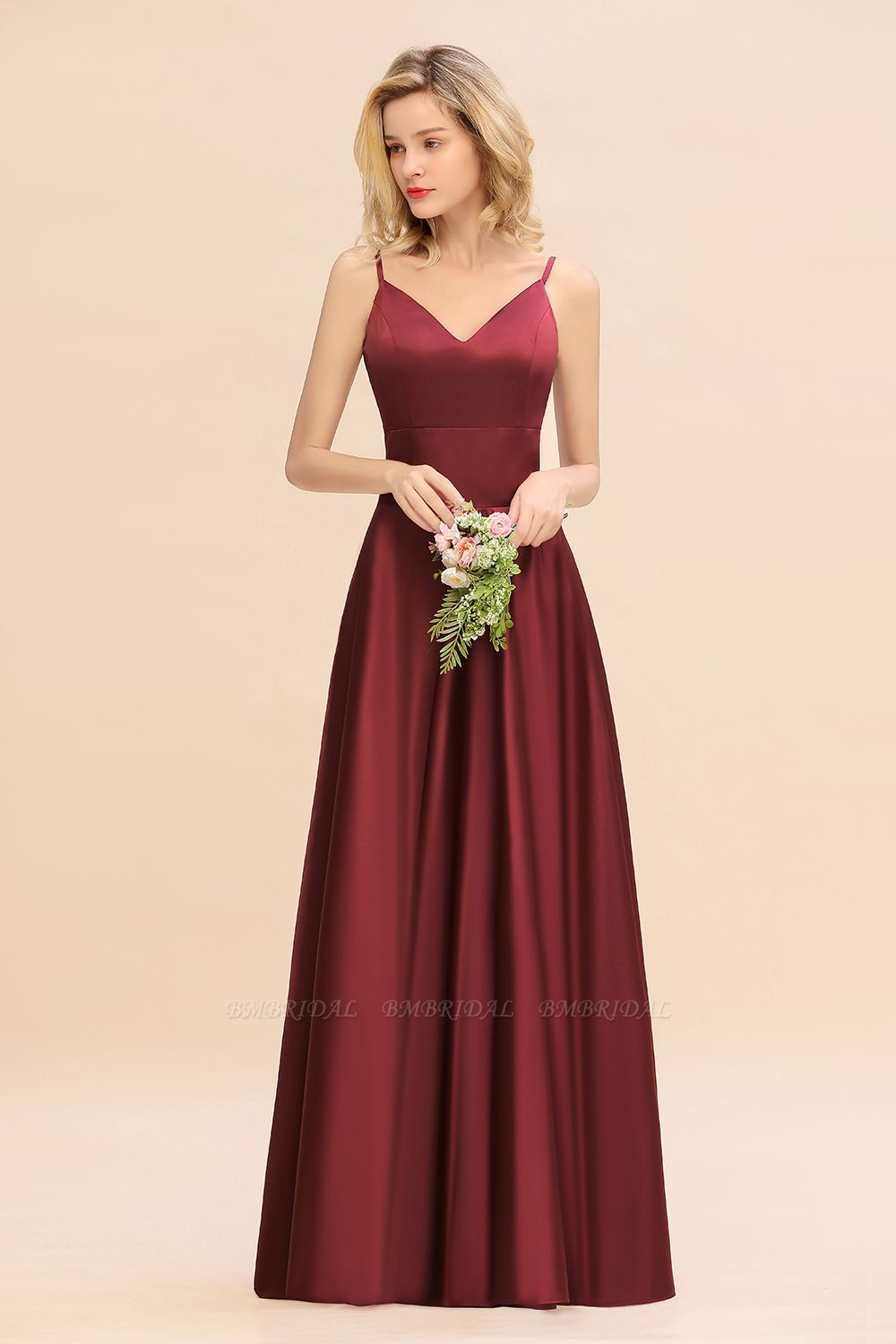 BMbridal Chic Spaghetti-Straps Burgundy Satin Long Bridesmaid Dress Online
