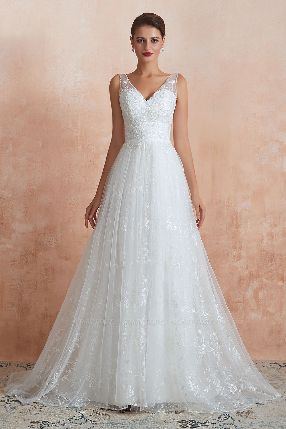 BMbridal Affordable V-Neck Tulle Lace Long White Wedding Dresses Online